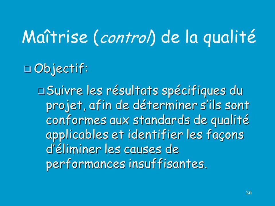 Maîtrise (control) de la qualité
