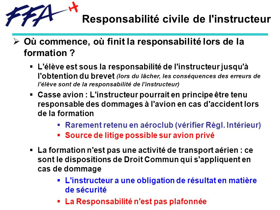 Responsabilité civile de l instructeur