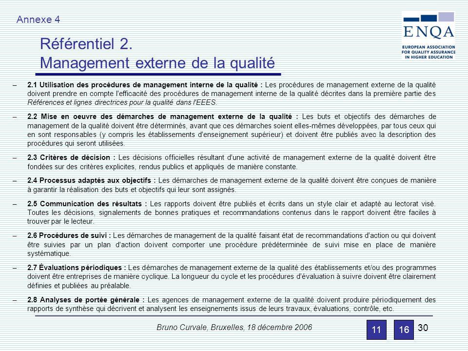 Référentiel 1. Management interne de la qualité