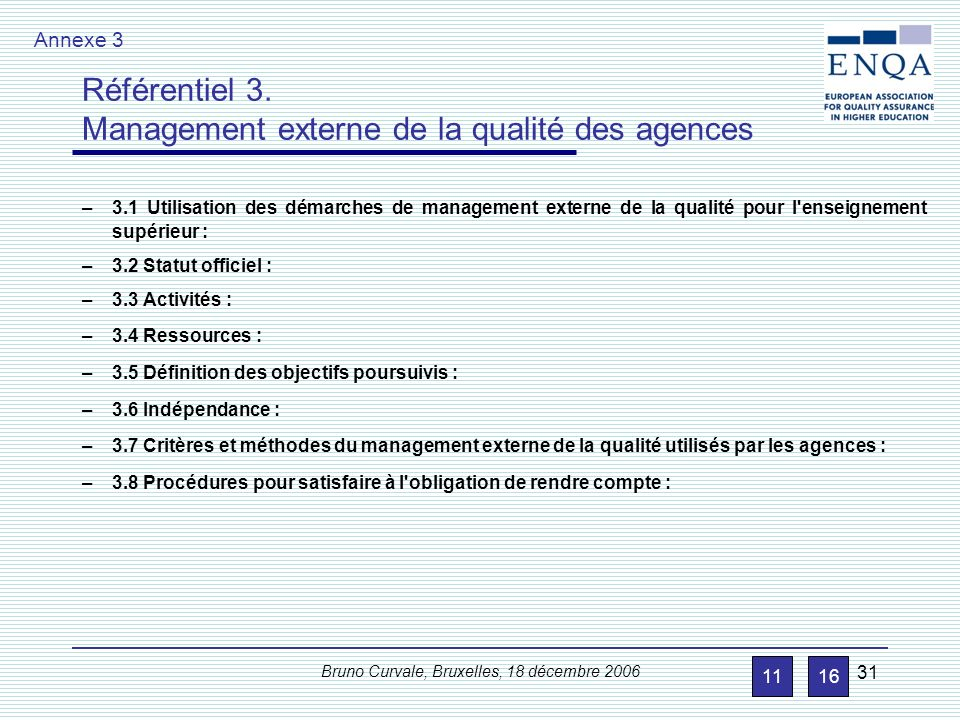 Référentiel 2. Management externe de la qualité