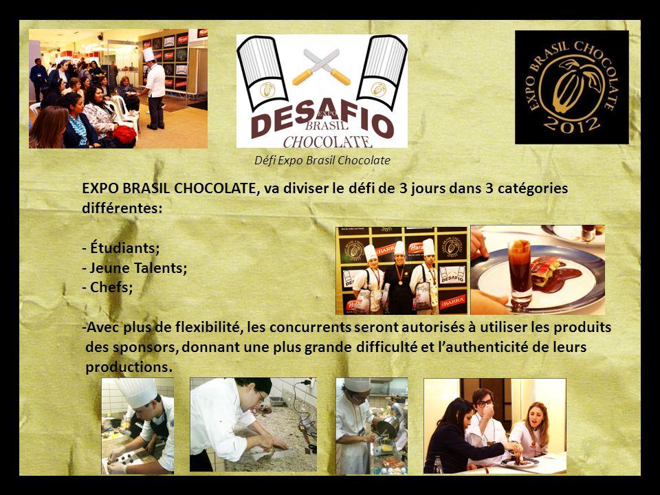 EXPO BRASIL CHOCOLATE, va diviser le défi de 3 jours dans 3 catégories
