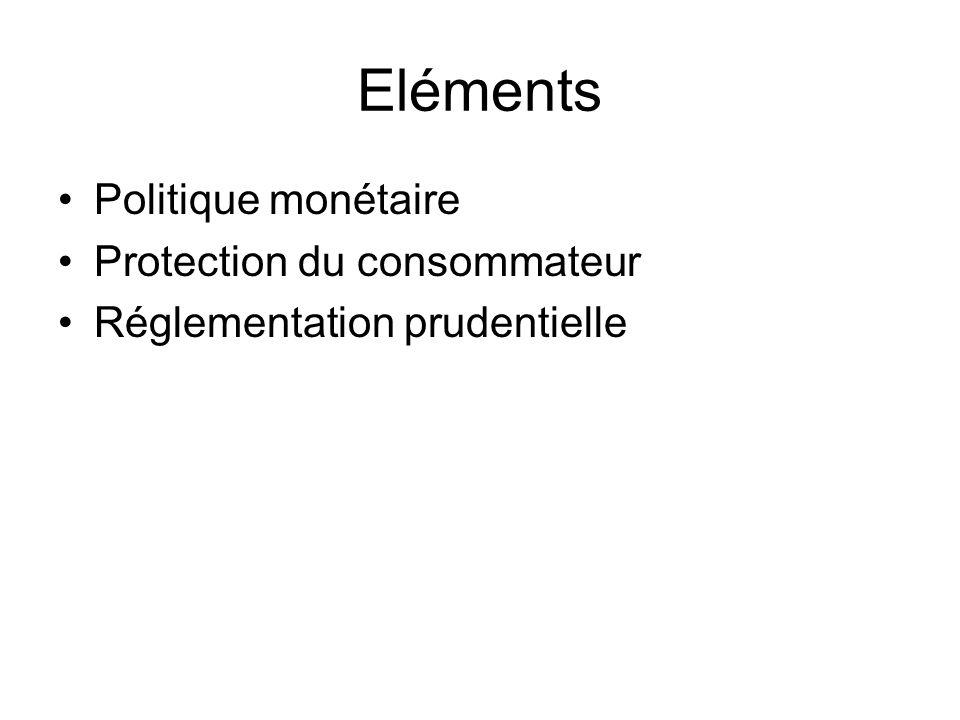 Eléments Politique monétaire Protection du consommateur