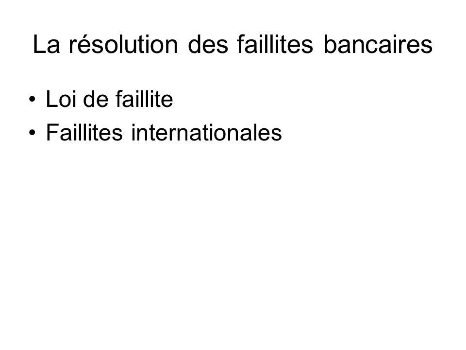 La résolution des faillites bancaires