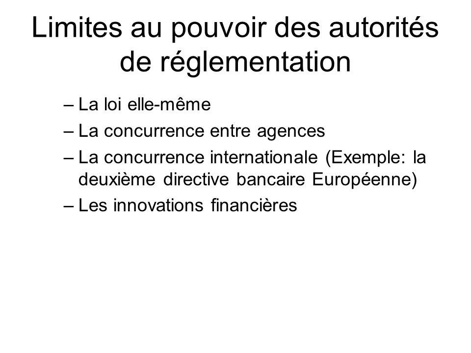 Limites au pouvoir des autorités de réglementation