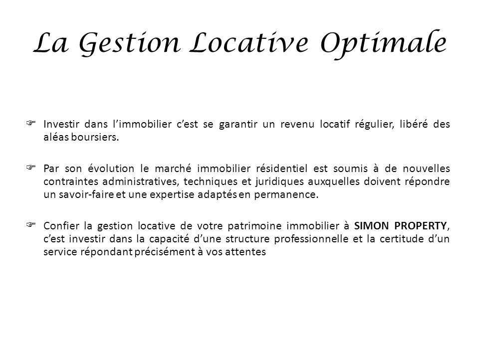 La Gestion Locative Optimale