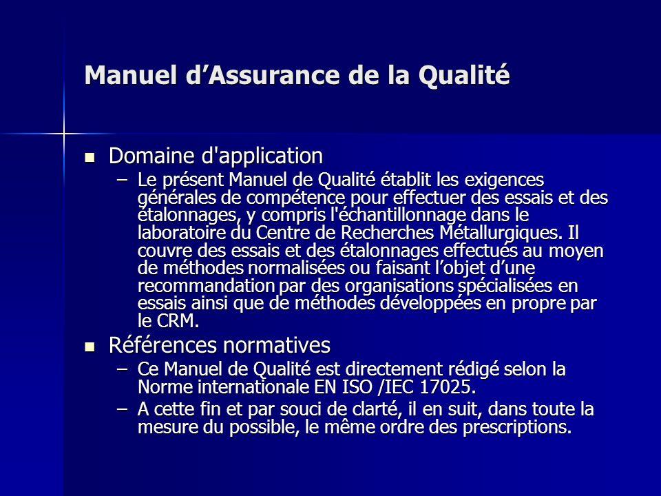 Manuel d'Assurance de la Qualité