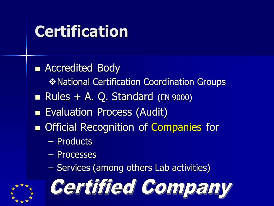 Certification Certified Company Accredited Body