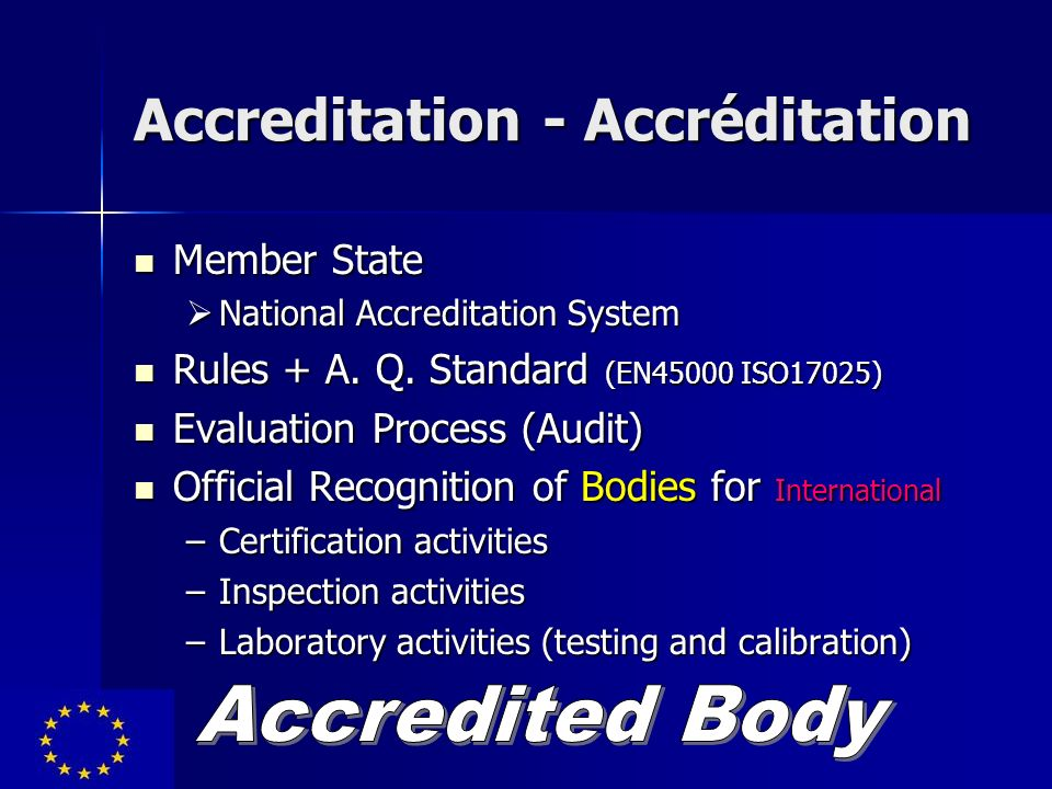 Accreditation - Accréditation