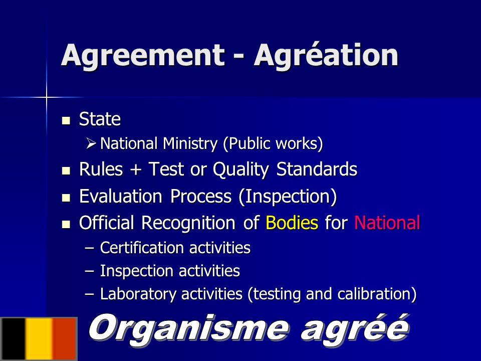 Agreement - Agréation Organisme agréé State