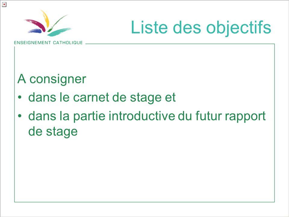 Liste des objectifs A consigner dans le carnet de stage et