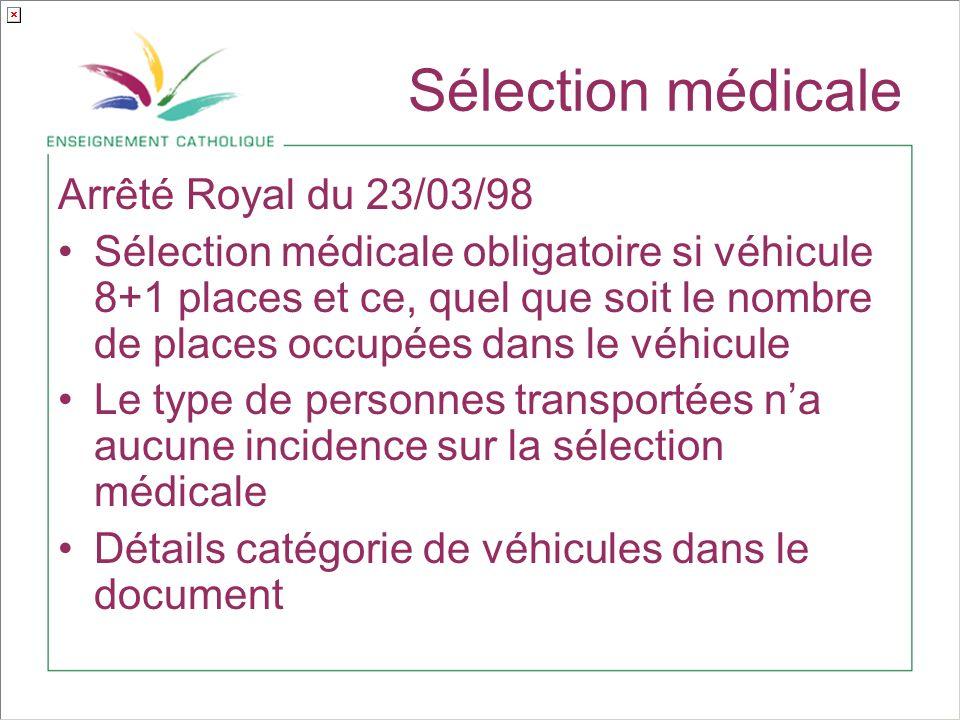 Sélection médicale Arrêté Royal du 23/03/98