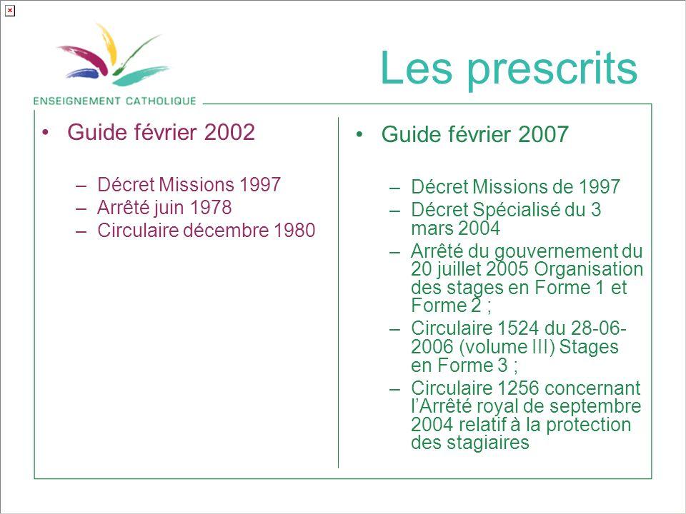 Les prescrits Guide février 2002 Guide février 2007