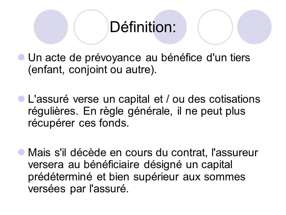 Définition: Un acte de prévoyance au bénéfice d un tiers (enfant, conjoint ou autre).
