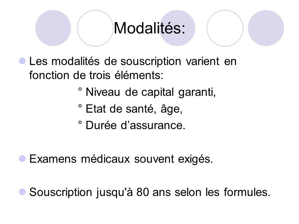 Modalités: Les modalités de souscription varient en fonction de trois éléments: ° Niveau de capital garanti,