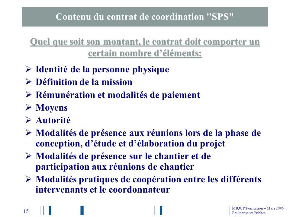 Contenu du contrat de coordination SPS