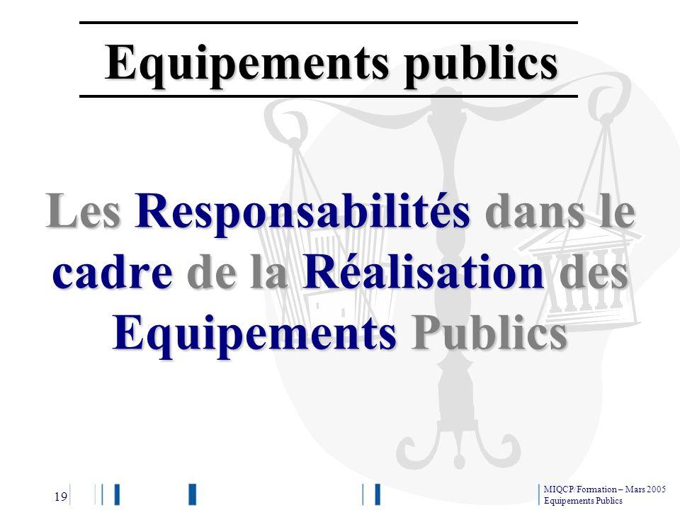 Equipements publics Les Responsabilités dans le cadre de la Réalisation des Equipements Publics. 19.