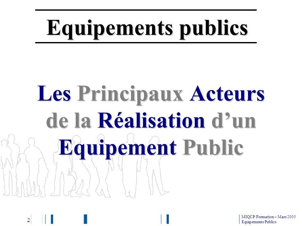 Les Principaux Acteurs de la Réalisation d'un Equipement Public