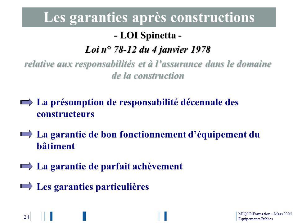 Les garanties après constructions