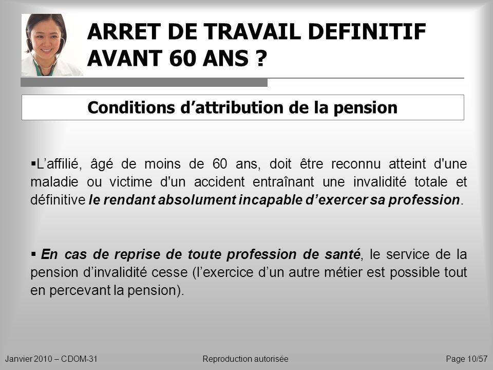 ARRET DE TRAVAIL DEFINITIF AVANT 60 ANS