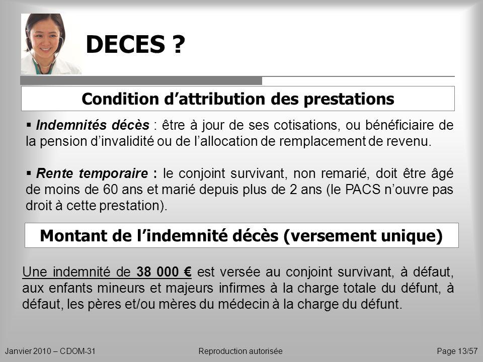 DECES Condition d'attribution des prestations