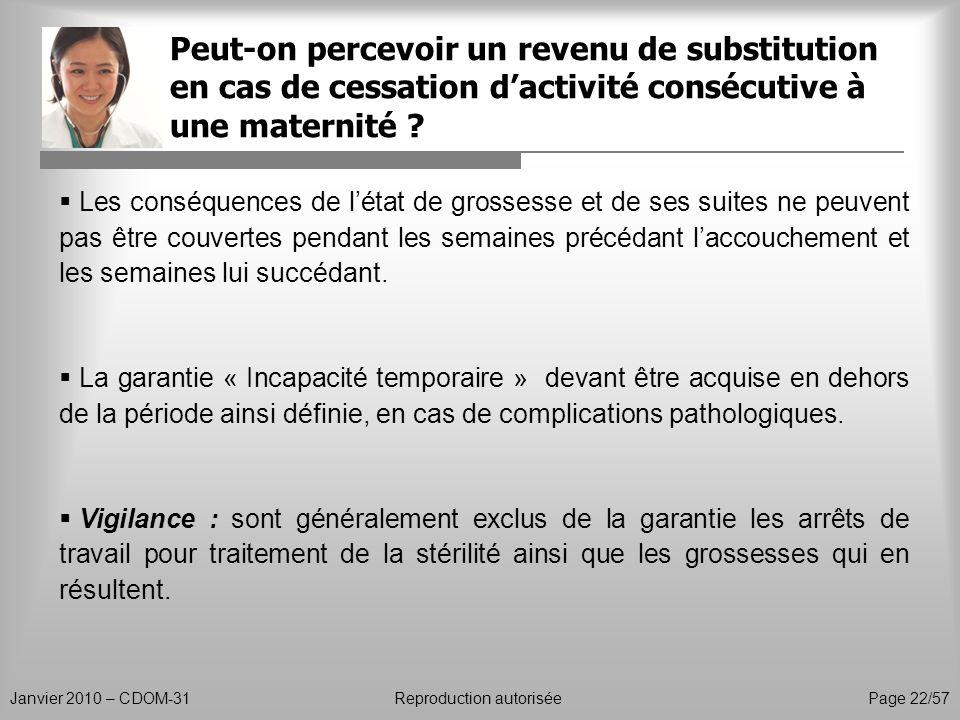 Peut-on percevoir un revenu de substitution en cas de cessation d'activité consécutive à une maternité