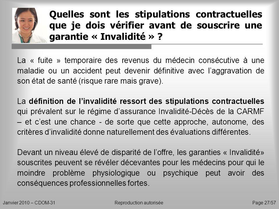 Quelles sont les stipulations contractuelles que je dois vérifier avant de souscrire une garantie « Invalidité »