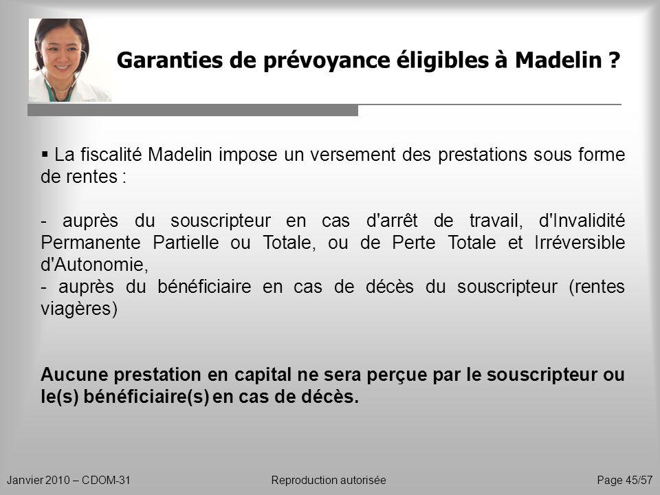 Garanties de prévoyance éligibles à Madelin