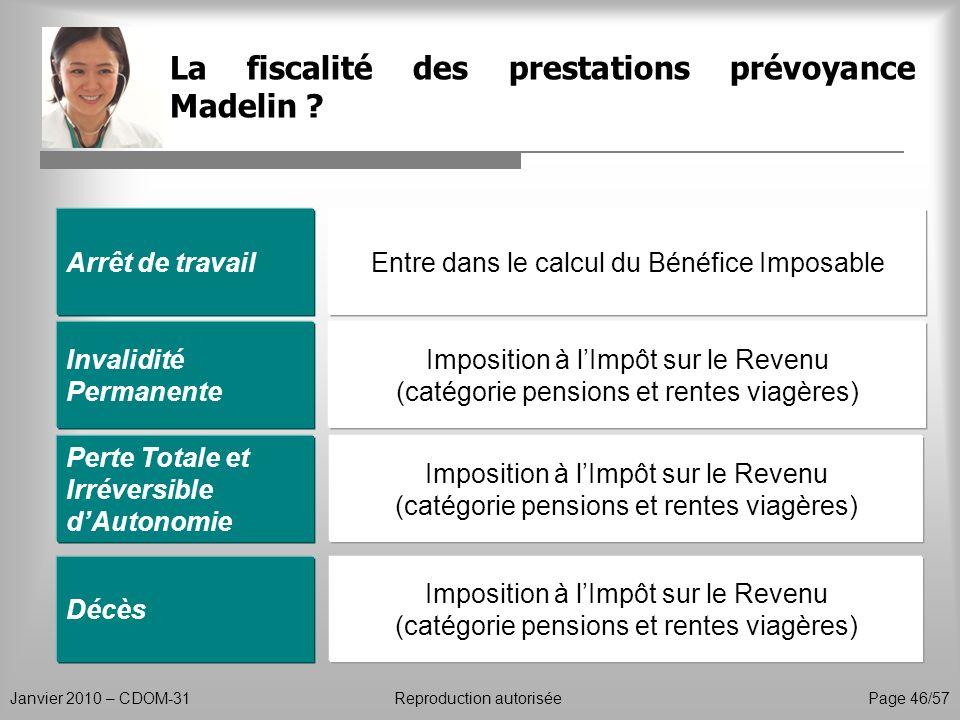 La fiscalité des prestations prévoyance Madelin