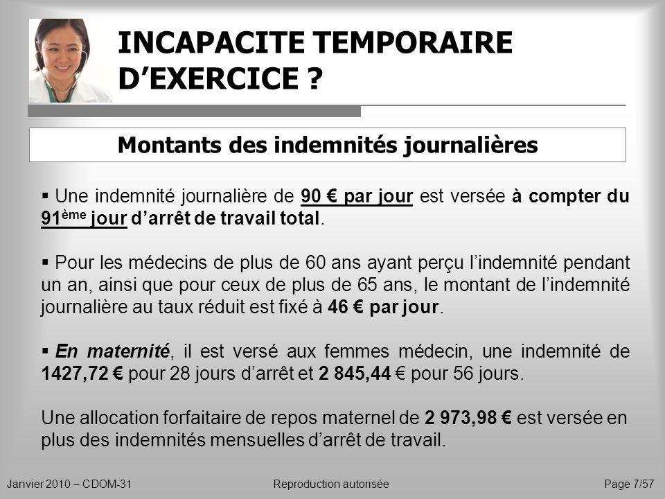 INCAPACITE TEMPORAIRE D'EXERCICE