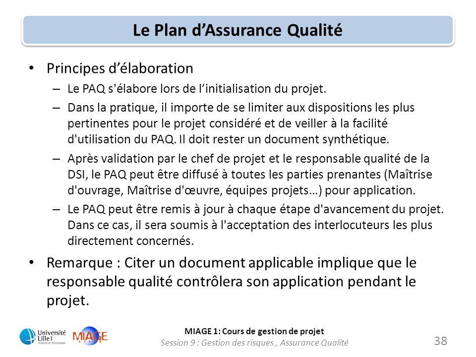 Le Plan d'Assurance Qualité