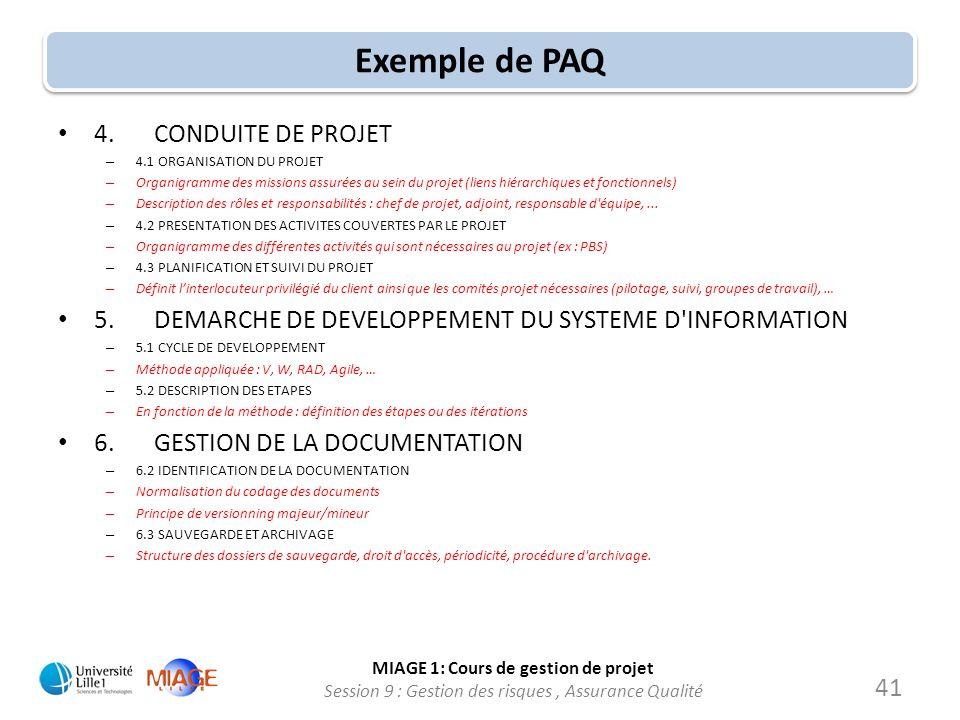 Exemple de PAQ 4. CONDUITE DE PROJET