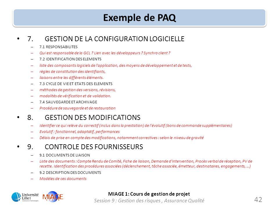 Exemple de PAQ 7. GESTION DE LA CONFIGURATION LOGICIELLE