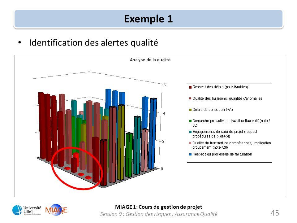 Exemple 1 Identification des alertes qualité