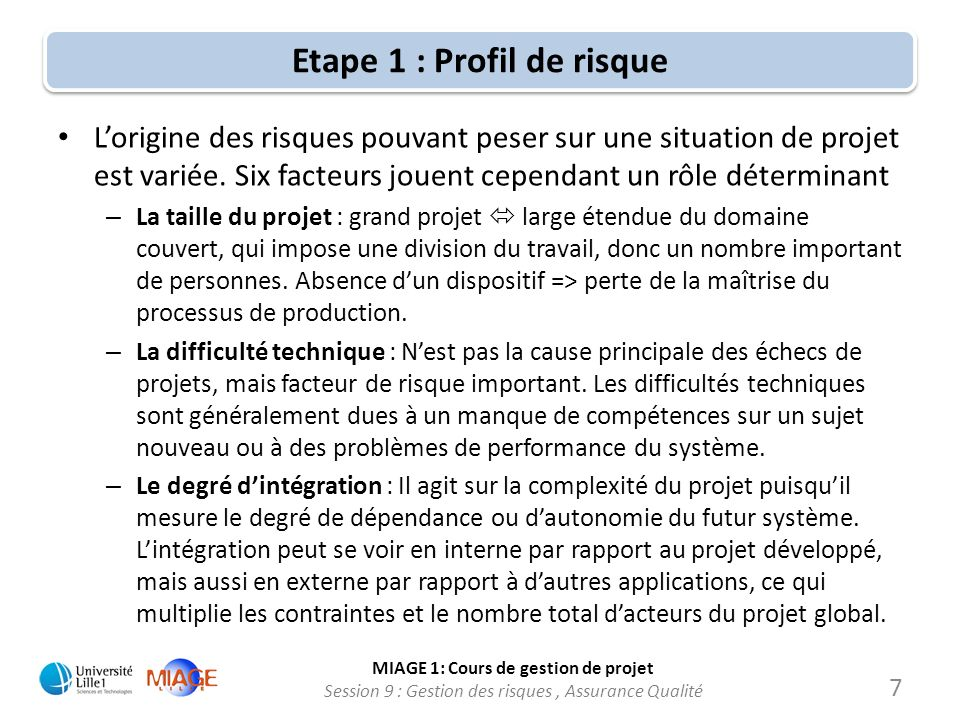 Etape 1 : Profil de risque