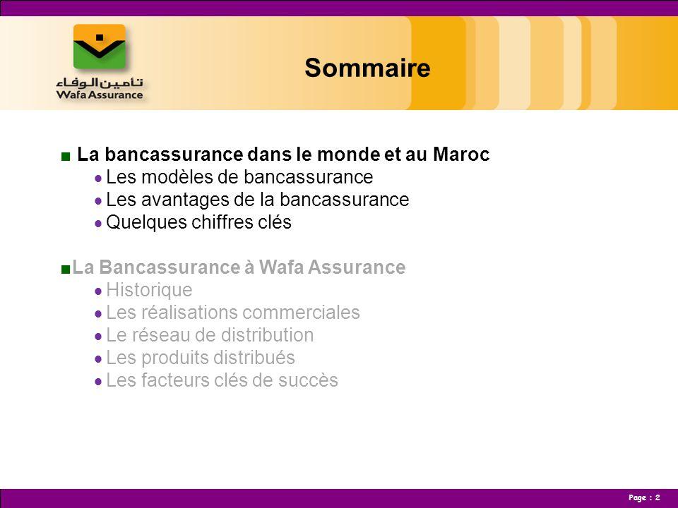 Sommaire La bancassurance dans le monde et au Maroc