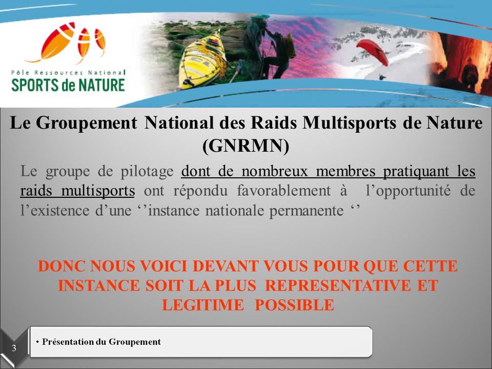 Le Groupement National des Raids Multisports de Nature