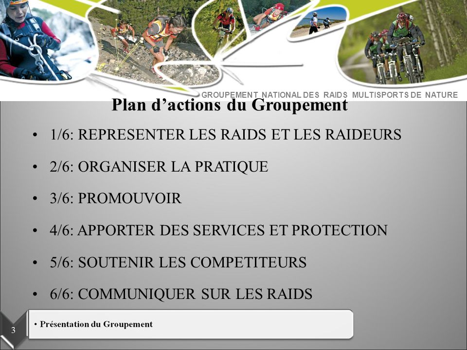 Plan d'actions du Groupement