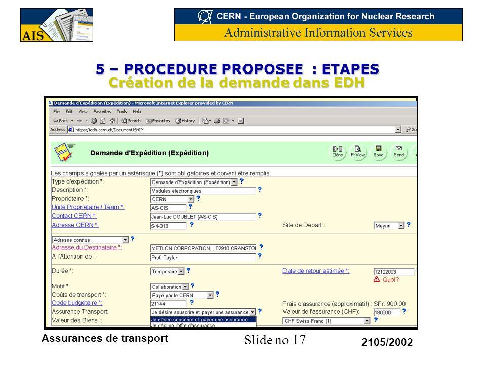 5 – PROCEDURE PROPOSEE : ETAPES Création de la demande dans EDH