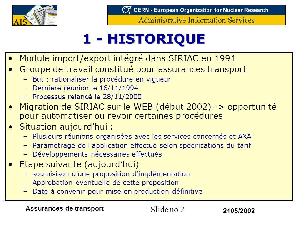 1 - HISTORIQUE Module import/export intégré dans SIRIAC en 1994