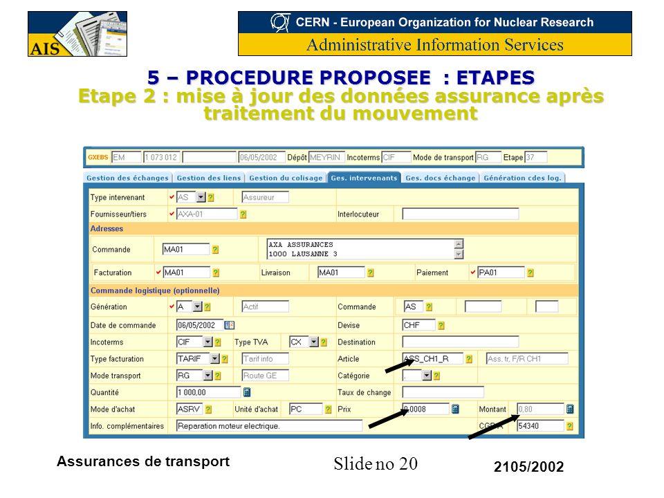 5 – PROCEDURE PROPOSEE : ETAPES Etape 2 : mise à jour des données assurance après traitement du mouvement