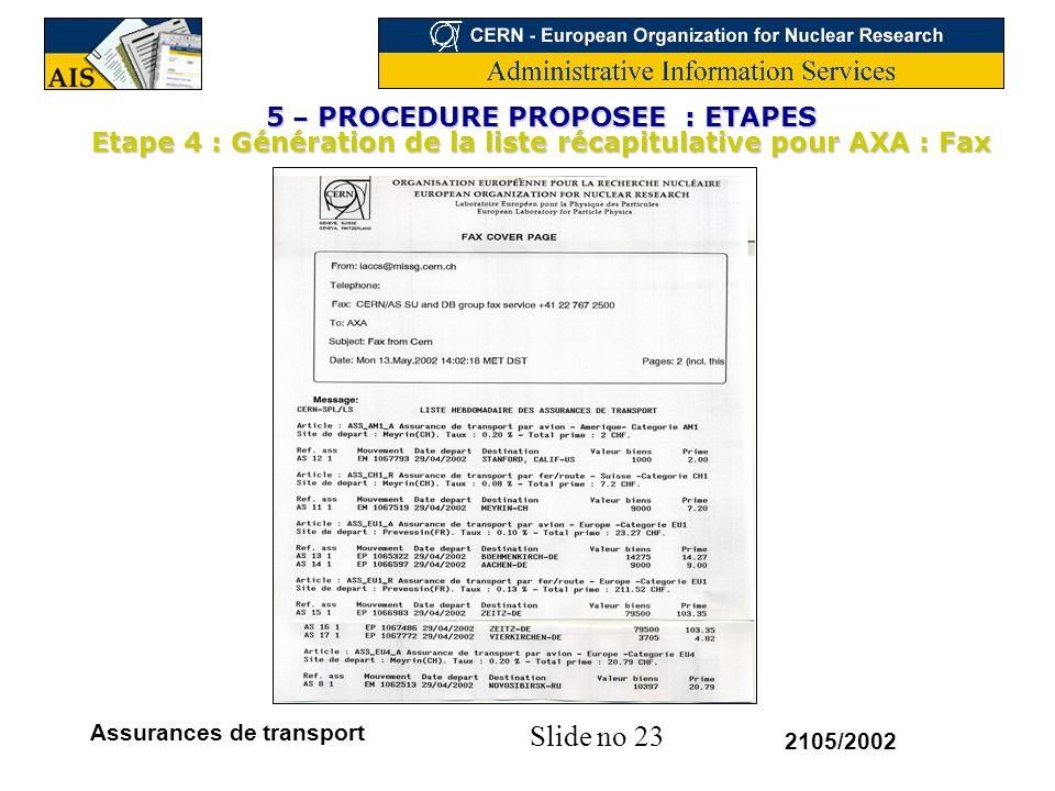 5 – PROCEDURE PROPOSEE : ETAPES Etape 4 : Génération de la liste récapitulative pour AXA : Fax