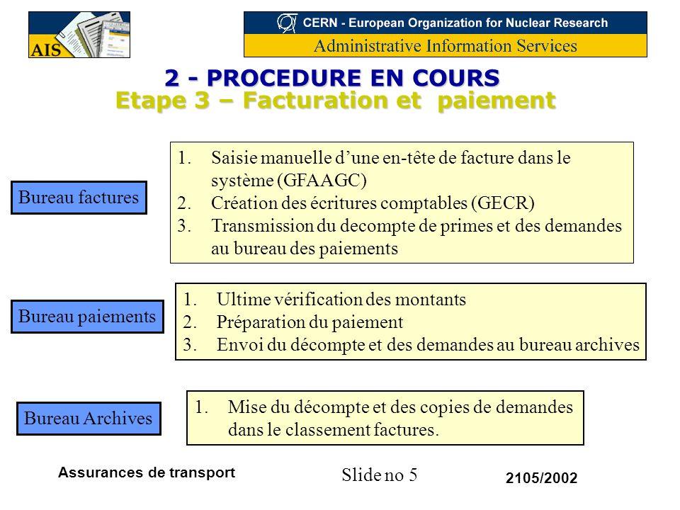 2 - PROCEDURE EN COURS Etape 3 – Facturation et paiement