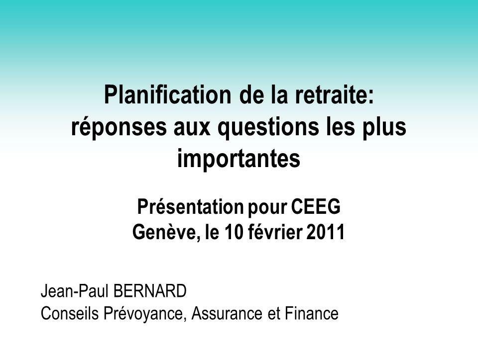 Présentation pour CEEG Genève, le 10 février 2011