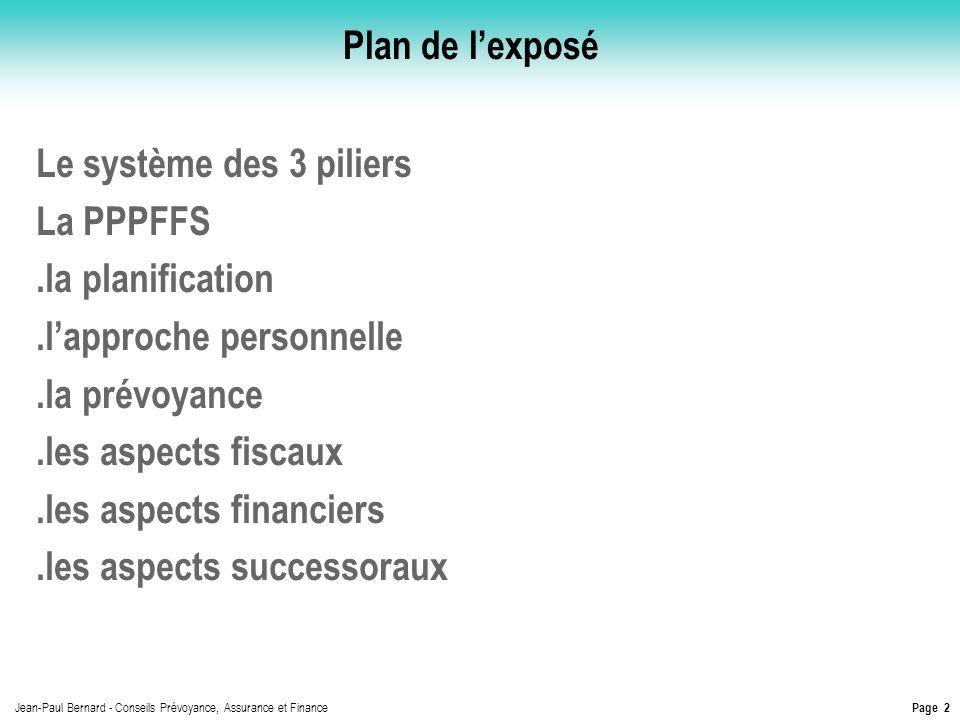 Plan de l'exposé Le système des 3 piliers. La PPPFFS. .la planification. .l'approche personnelle.