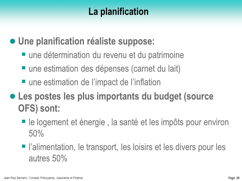 Une planification réaliste suppose: