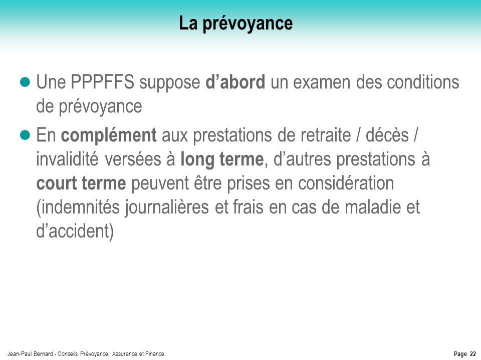 La prévoyance Une PPPFFS suppose d'abord un examen des conditions de prévoyance.