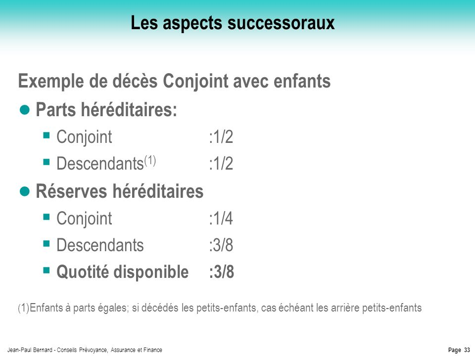 Les aspects successoraux
