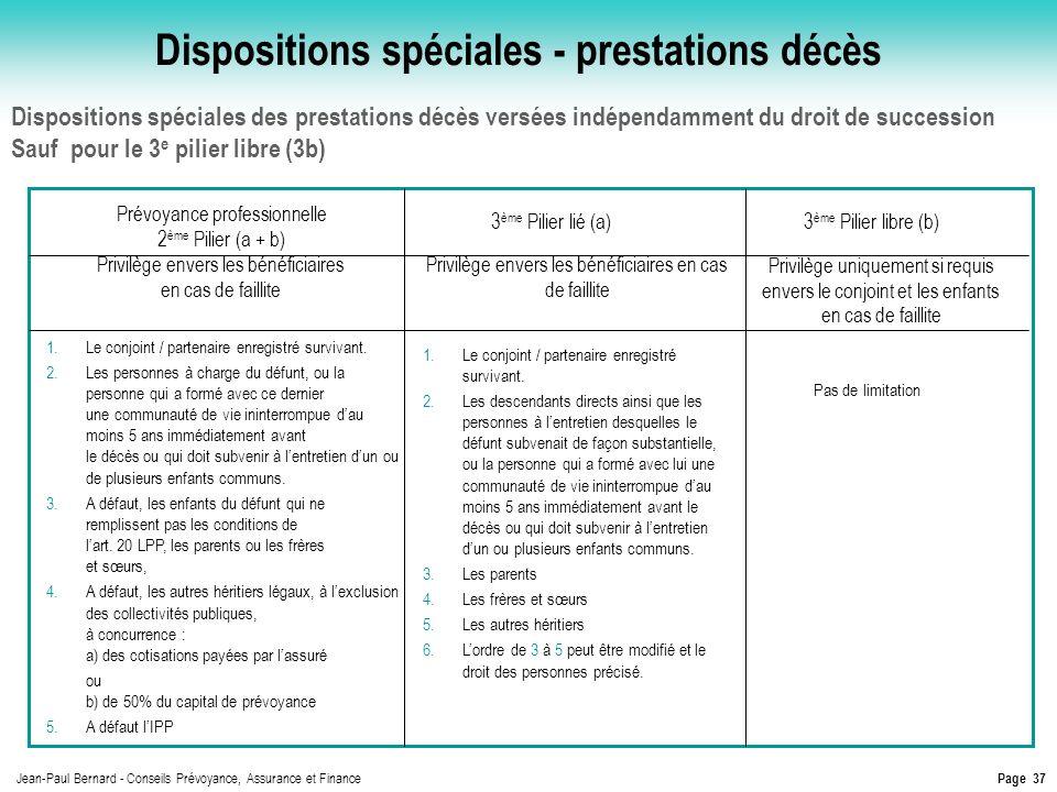 Dispositions spéciales - prestations décès