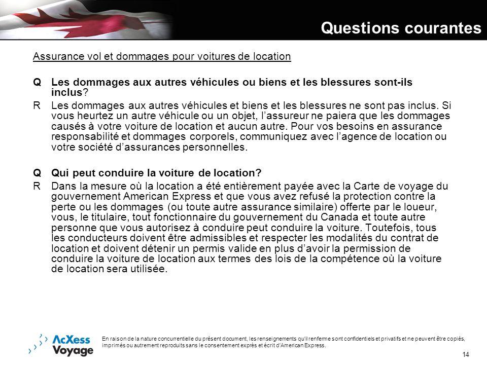Questions courantes Assurance vol et dommages pour voitures de location.