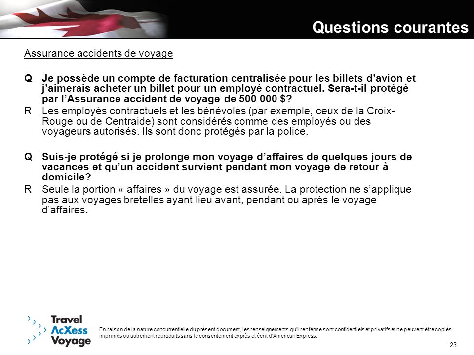 Questions courantes Assurance accidents de voyage